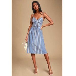 "Lulu's ""World Wonder"" Tie Front Striped Midi Dress"